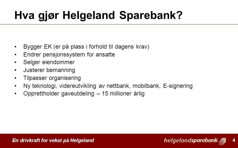 En drivkraft for vekst på Helgeland Hva gjør Helgeland Sparebank? Bygger EK (er på plass i forhold til dagens krav) Endrer pensjonssystem for ansatte
