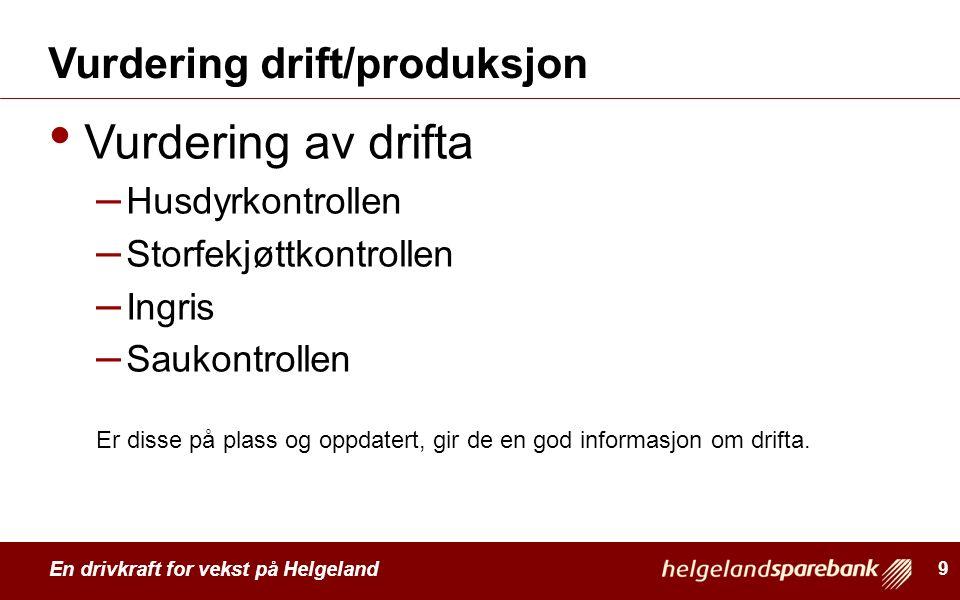 En drivkraft for vekst på Helgeland Vurdering drift/produksjon Vurdering av drifta – Husdyrkontrollen – Storfekjøttkontrollen – Ingris – Saukontrollen