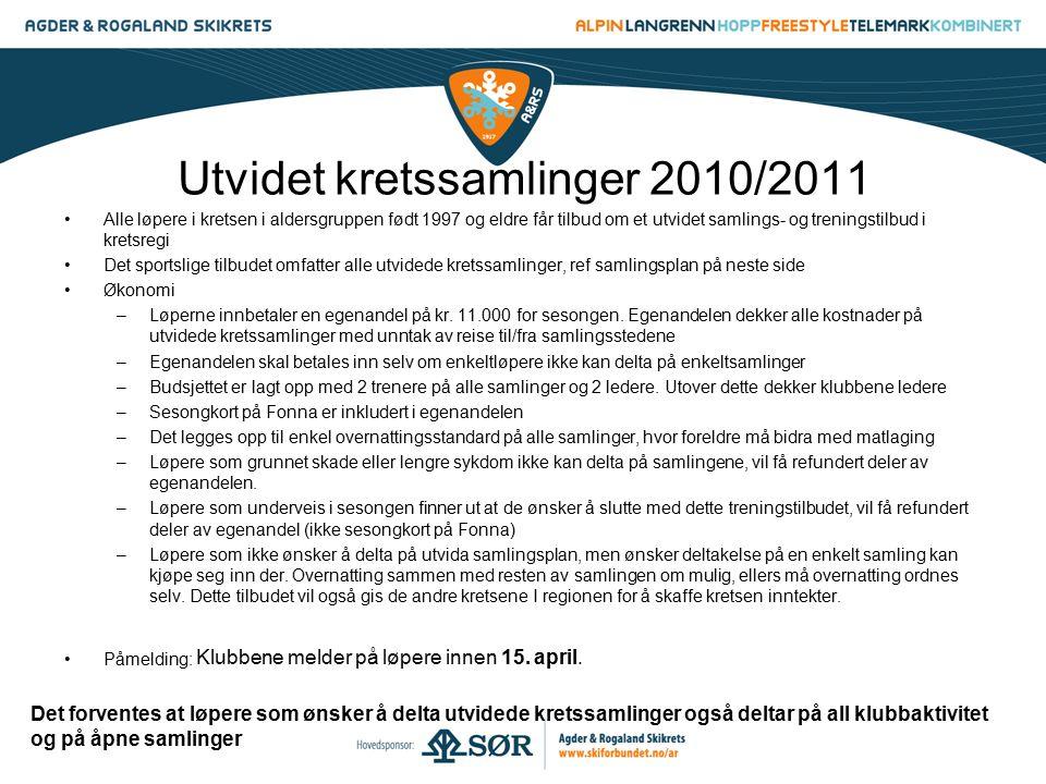 Utvidet kretssamlinger 2010/2011 Alle løpere i kretsen i aldersgruppen født 1997 og eldre får tilbud om et utvidet samlings- og treningstilbud i krets