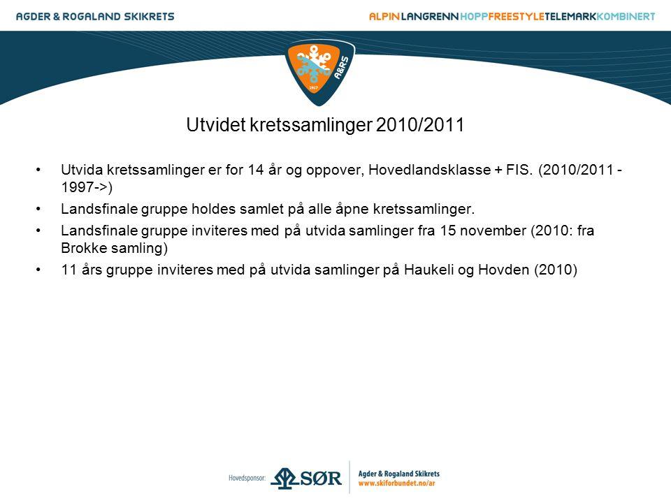 Utvida kretssamlinger er for 14 år og oppover, Hovedlandsklasse + FIS. (2010/2011 - 1997->) Landsfinale gruppe holdes samlet på alle åpne kretssamling