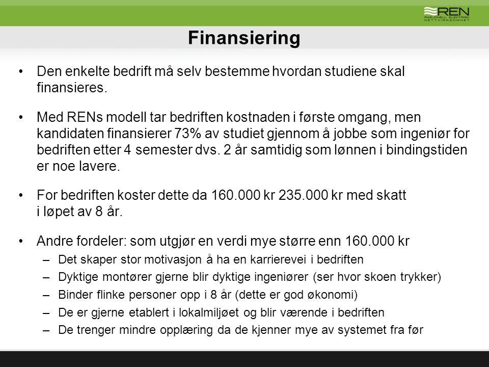 Finansiering Den enkelte bedrift må selv bestemme hvordan studiene skal finansieres.