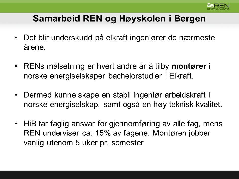 Samarbeid REN og Høyskolen i Bergen Det blir underskudd på elkraft ingeniører de nærmeste årene. RENs målsetning er hvert andre år å tilby montører i