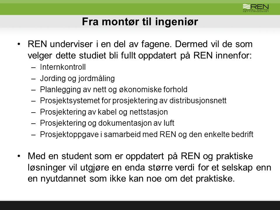 Fra montør til ingeniør REN underviser i en del av fagene.
