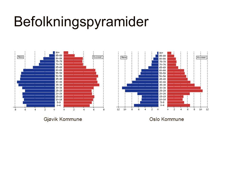 Befolkningspyramider Gjøvik KommuneOslo Kommune