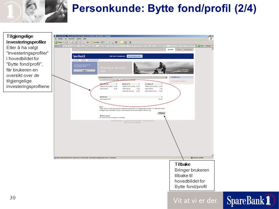 30 Personkunde: Bytte fond/profil (2/4) Tilbake Bringer brukeren tilbake til hovedbildet for Bytte fond/profil Tilgjengelige investeringsprofiler Ette
