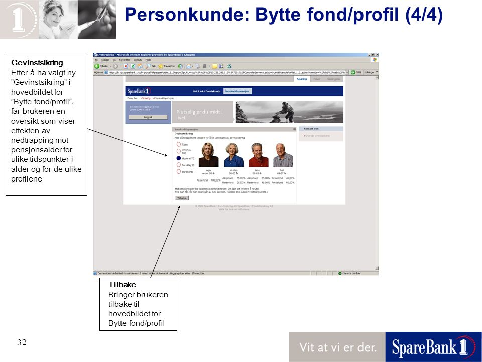 """32 Personkunde: Bytte fond/profil (4/4) Gevinstsikring Etter å ha valgt ny """"Gevinstsikring"""" i hovedbildet for """"Bytte fond/profil"""", får brukeren en ove"""