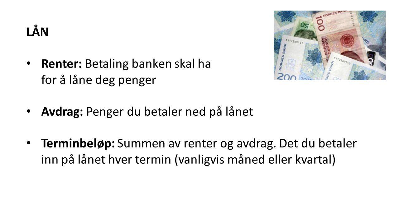 LÅN Renter: Betaling banken skal ha for å låne deg penger Avdrag: Penger du betaler ned på lånet Terminbeløp: Summen av renter og avdrag.
