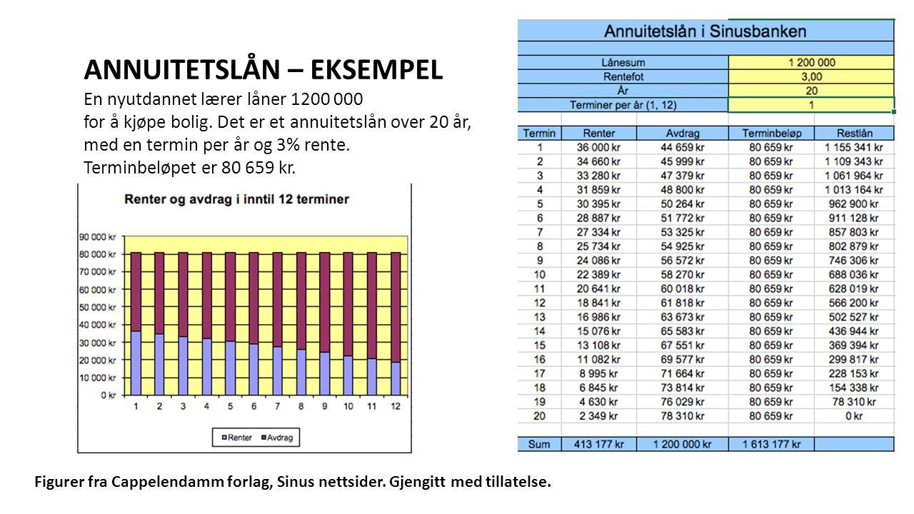 ANNUITETSLÅN – EKSEMPEL En nyutdannet lærer låner 1200 000 for å kjøpe bolig. Det er et annuitetslån over 20 år, med en termin per år og 3% rente. Ter