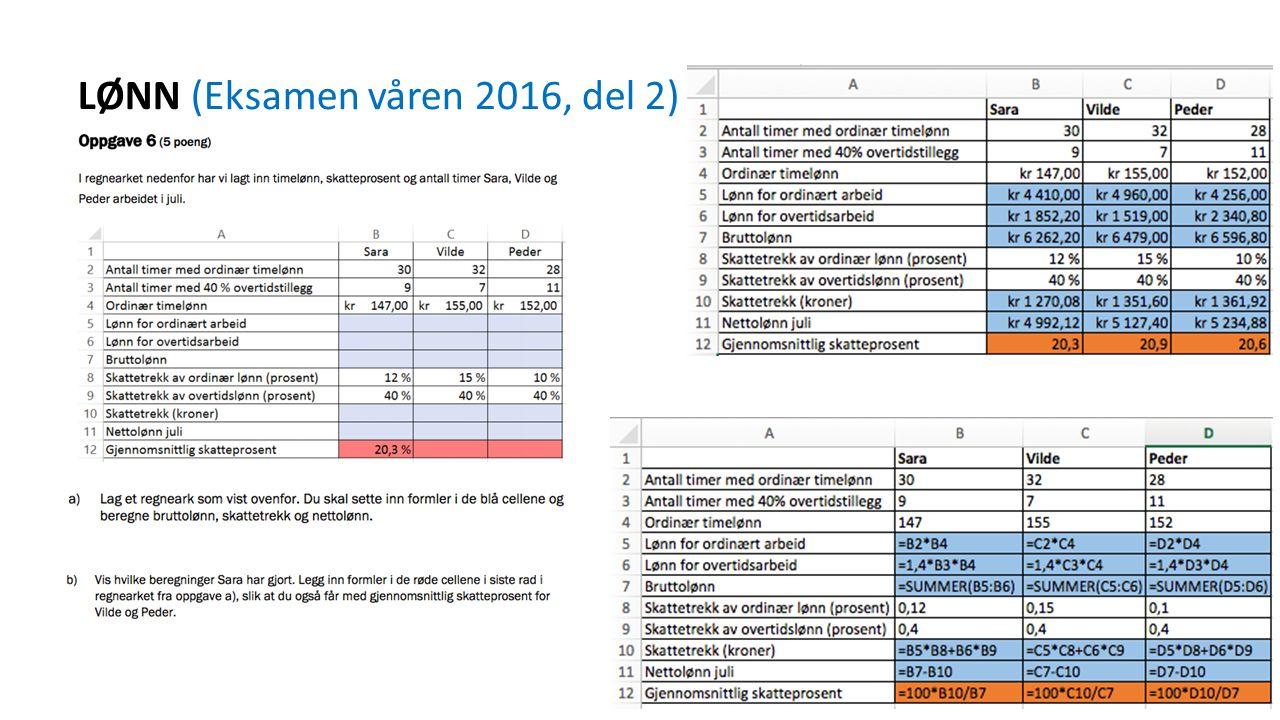 LØNN (Eksamen våren 2016, del 2)