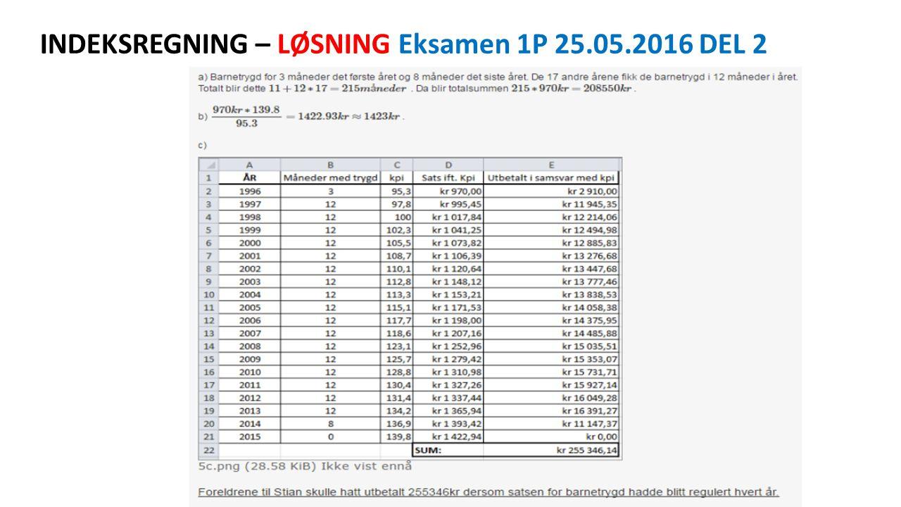 INDEKSREGNING – LØSNING Eksamen 1P 25.05.2016 DEL 2