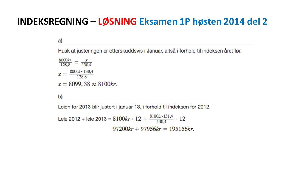 INDEKSREGNING – LØSNING Eksamen 1P høsten 2014 del 2