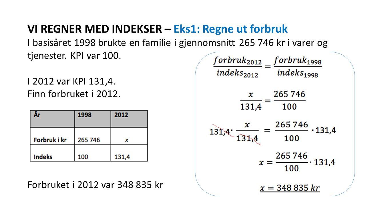 VI REGNER MED INDEKSER – Eks1: Regne ut forbruk I basisåret 1998 brukte en familie i gjennomsnitt 265 746 kr i varer og tjenester. KPI var 100. I 2012