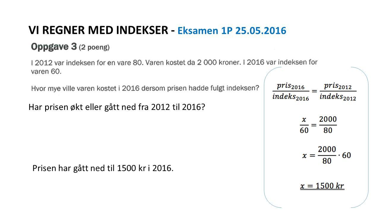 VI REGNER MED INDEKSER - Eksamen 1P 25.05.2016 Har prisen økt eller gått ned fra 2012 til 2016? Prisen har gått ned til 1500 kr i 2016.