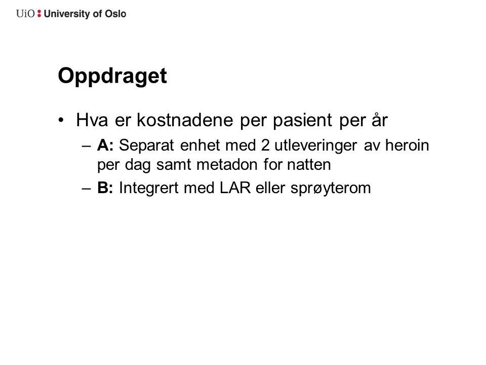 Oppdraget Hva er kostnadene per pasient per år –A: Separat enhet med 2 utleveringer av heroin per dag samt metadon for natten –B: Integrert med LAR eller sprøyterom