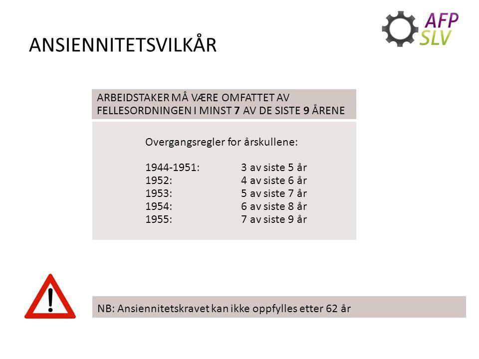 ANSIENNITETSVILKÅR ARBEIDSTAKER MÅ VÆRE OMFATTET AV FELLESORDNINGEN I MINST 7 AV DE SISTE 9 ÅRENE Overgangsregler for årskullene: 1944-1951: 3 av siste 5 år 1952: 4 av siste 6 år 1953: 5 av siste 7 år 1954:6 av siste 8 år 1955: 7 av siste 9 år NB: Ansiennitetskravet kan ikke oppfylles etter 62 år