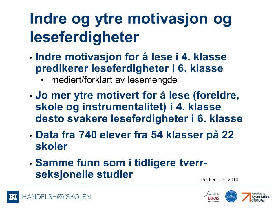 Indre og ytre motivasjon og leseferdigheter Indre motivasjon for å lese i 4.