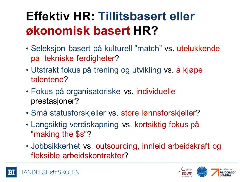 Effektiv HR: Tillitsbasert eller økonomisk basert HR.