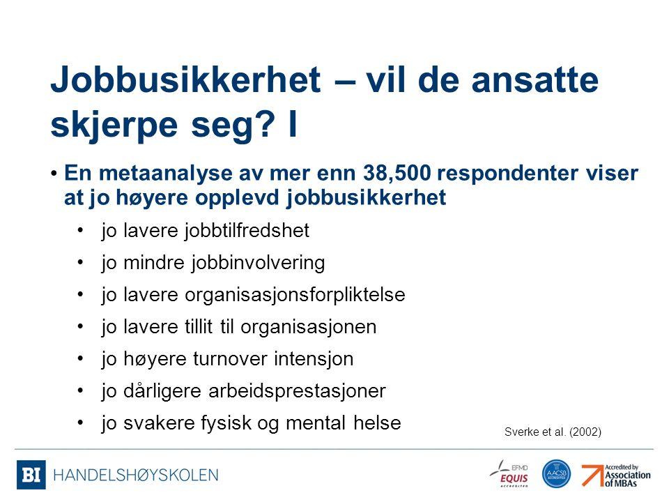 Jobbusikkerhet – vil de ansatte skjerpe seg.