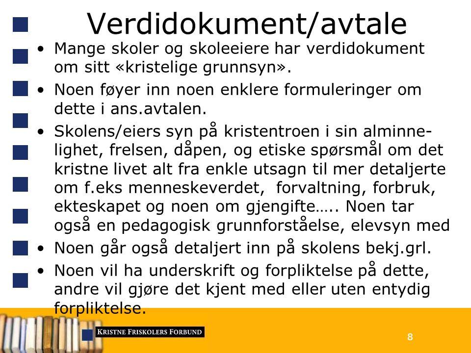Verdidokument/avtale Mange skoler og skoleeiere har verdidokument om sitt «kristelige grunnsyn».