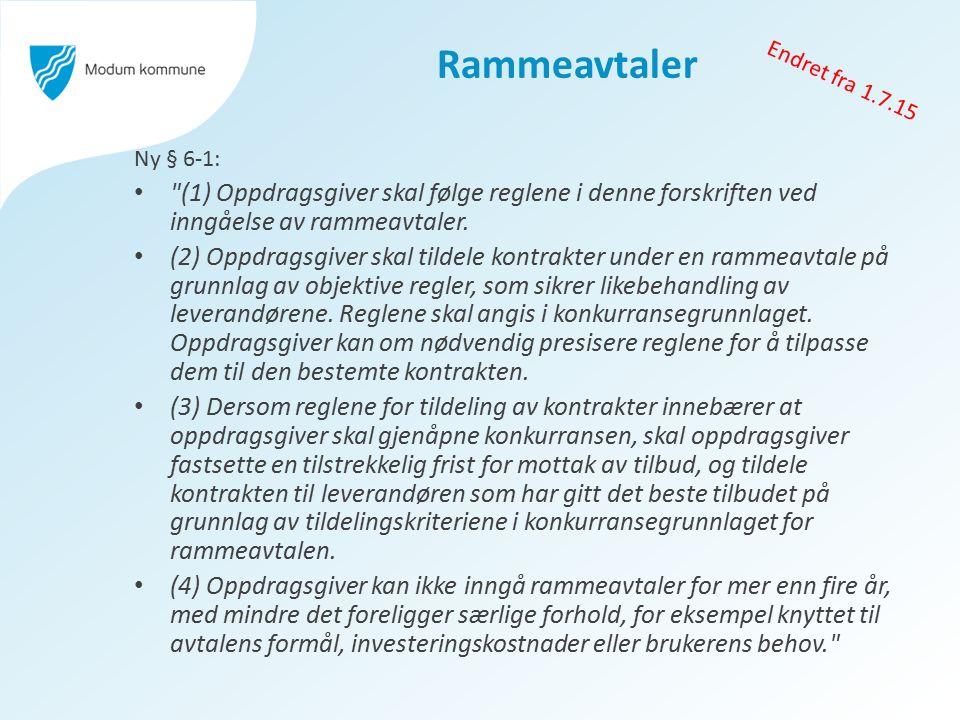 Rammeavtaler Ny § 6-1: