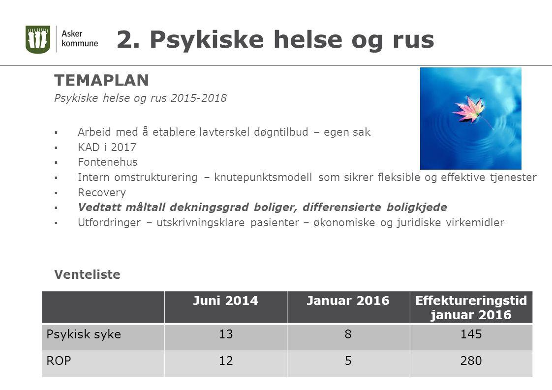 2. Psykiske helse og rus TEMAPLAN Psykiske helse og rus 2015-2018  Arbeid med å etablere lavterskel døgntilbud – egen sak  KAD i 2017  Fontenehus 