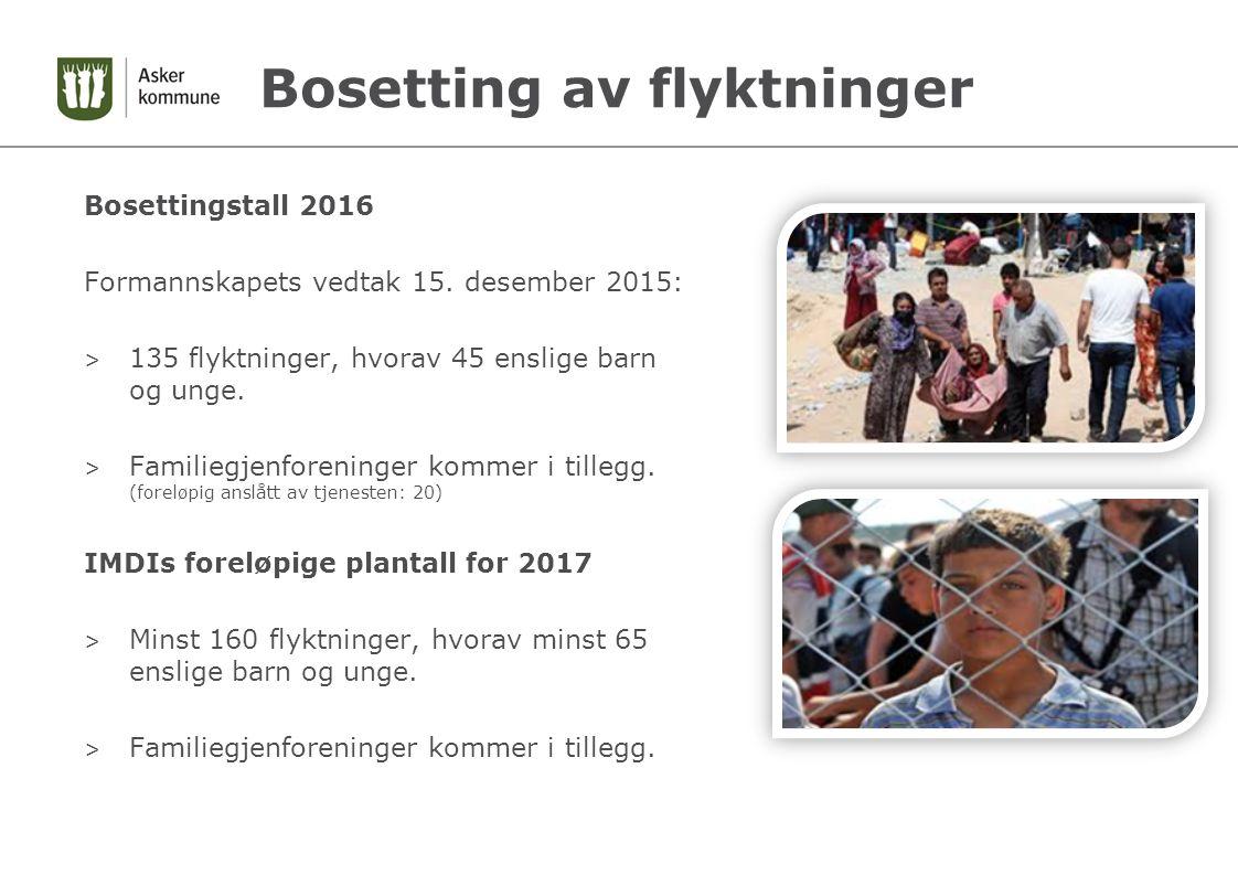 Bosetting av flyktninger Bosettingstall 2016 Formannskapets vedtak 15.