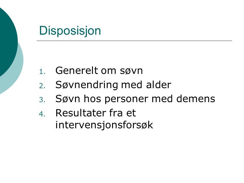Disposisjon 1. Generelt om søvn 2. Søvnendring med alder 3. Søvn hos personer med demens 4. Resultater fra et intervensjonsforsøk