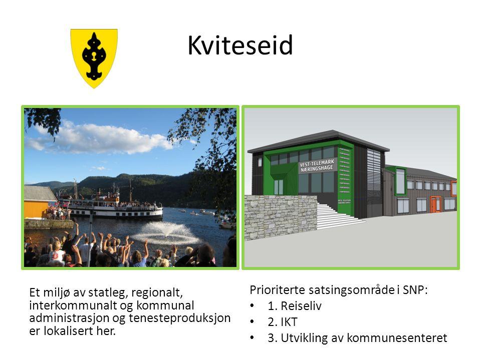 Kviteseid Et miljø av statleg, regionalt, interkommunalt og kommunal administrasjon og tenesteproduksjon er lokalisert her. Prioriterte satsingsområde