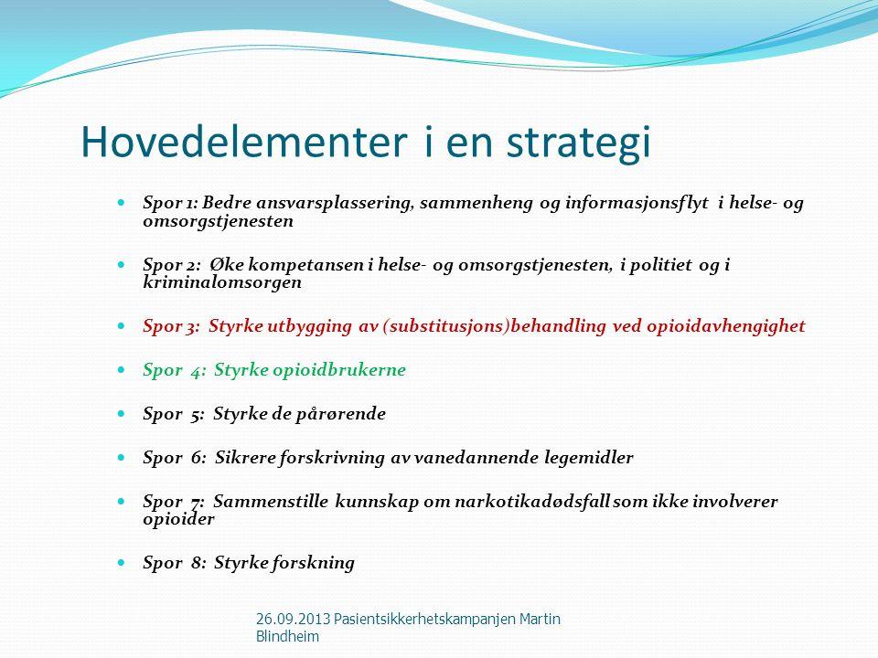 Hovedelementer i en strategi Spor 1: Bedre ansvarsplassering, sammenheng og informasjonsflyt i helse- og omsorgstjenesten Spor 2: Øke kompetansen i he