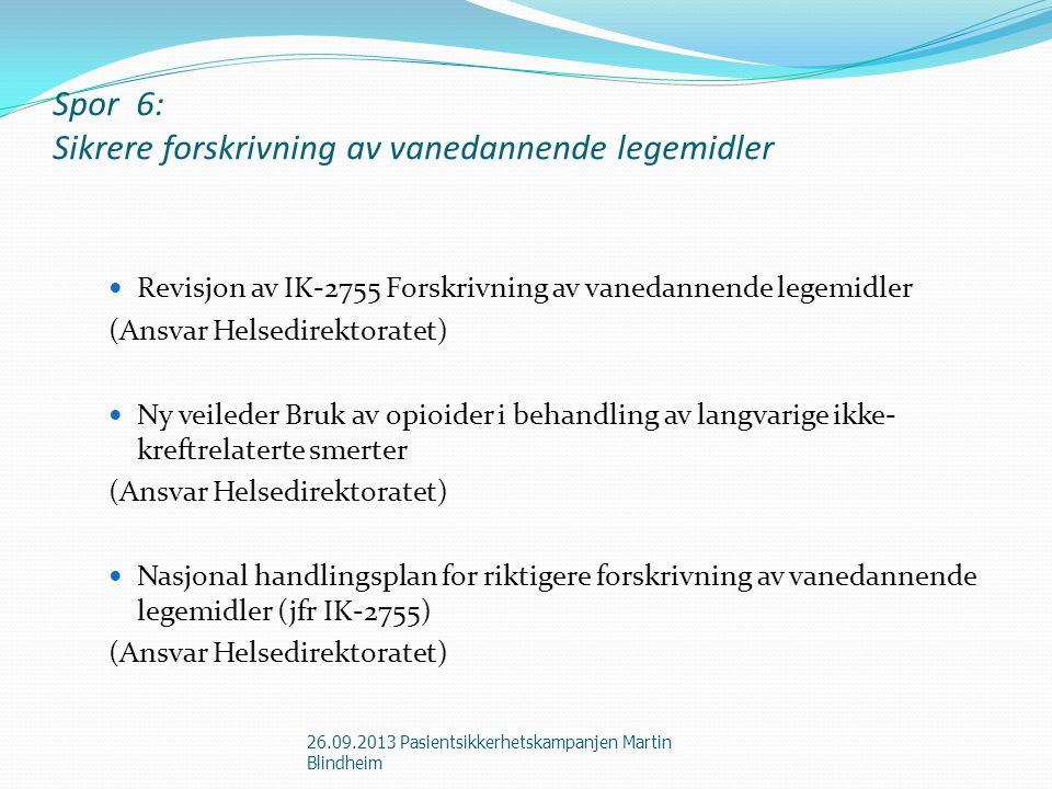 Spor 6: Sikrere forskrivning av vanedannende legemidler Revisjon av IK-2755 Forskrivning av vanedannende legemidler (Ansvar Helsedirektoratet) Ny veil