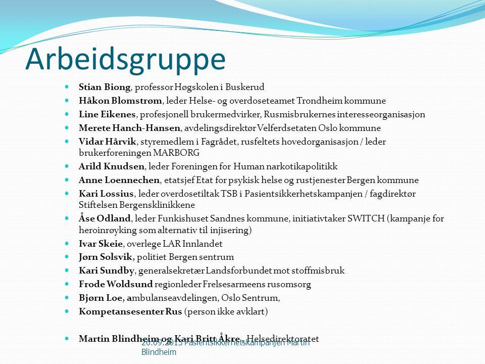 Arbeidsgruppe Stian Biong, professor Høgskolen i Buskerud Håkon Blomstrøm, leder Helse- og overdoseteamet Trondheim kommune Line Eikenes, profesjonell