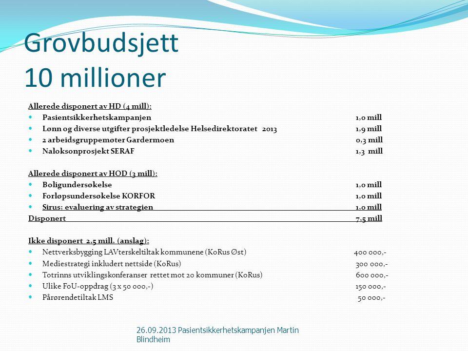 Grovbudsjett 10 millioner Allerede disponert av HD (4 mill): Pasientsikkerhetskampanjen1,0 mill Lønn og diverse utgifter prosjektledelse Helsedirektor
