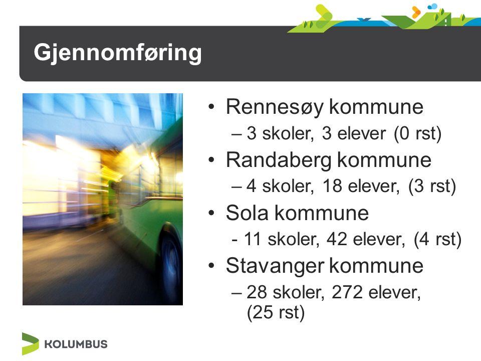 Gjennomføring Rennesøy kommune –3 skoler, 3 elever (0 rst) Randaberg kommune –4 skoler, 18 elever, (3 rst) Sola kommune - 11 skoler, 42 elever, (4 rst