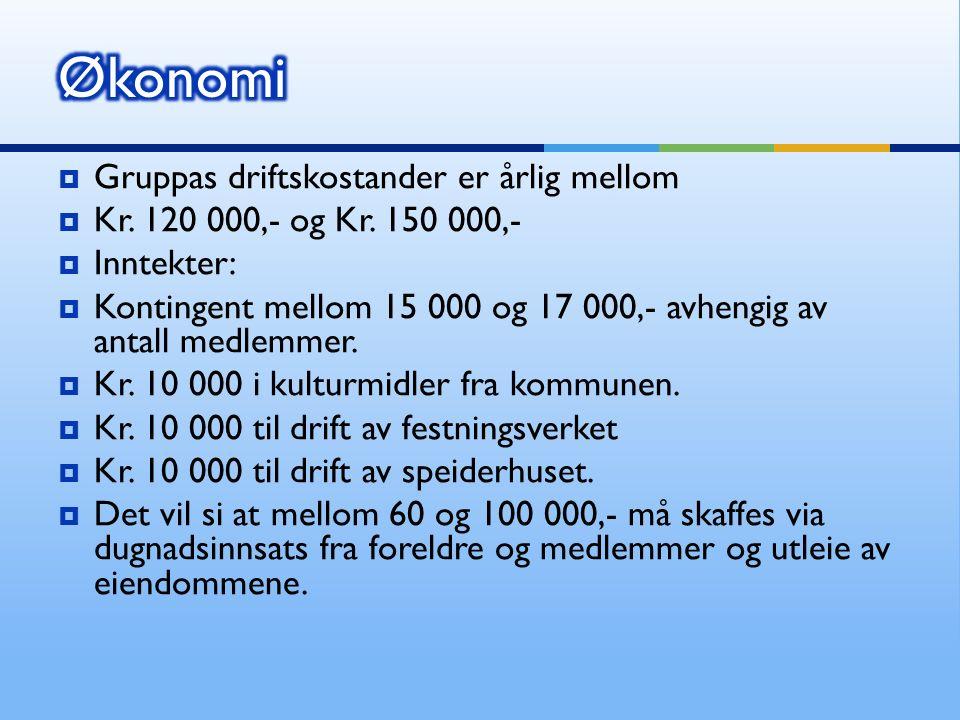  Gruppas driftskostander er årlig mellom  Kr. 120 000,- og Kr.