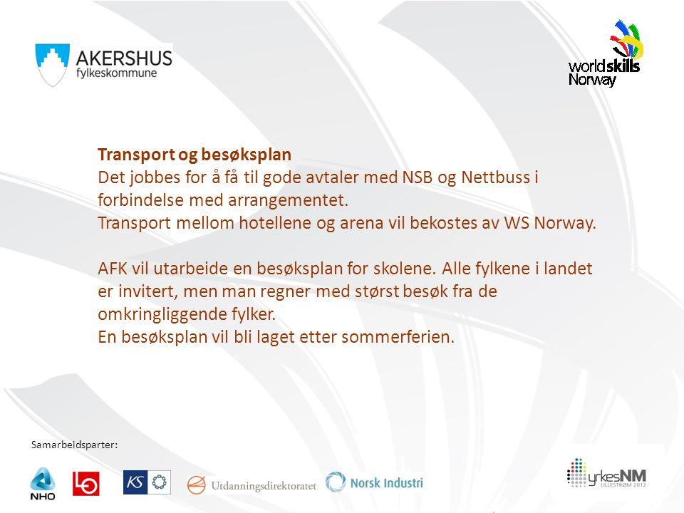 Samarbeidsparter: Transport og besøksplan Det jobbes for å få til gode avtaler med NSB og Nettbuss i forbindelse med arrangementet. Transport mellom h