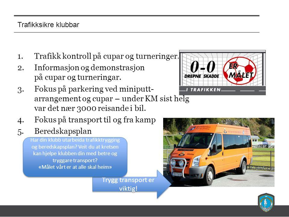 Trafikksikre klubbar 1.Trafikk kontroll på cupar og turneringer. 2.Informasjon og demonstrasjon på cupar og turneringar. 3.Fokus på parkering ved mini