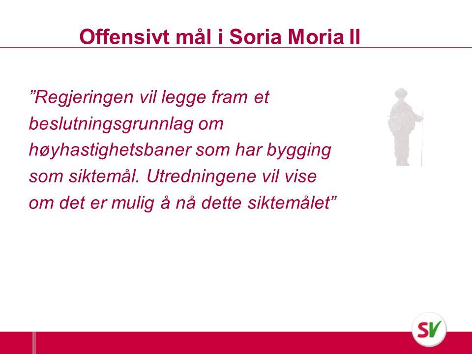 Offensivt mål i Soria Moria II Regjeringen vil legge fram et beslutningsgrunnlag om høyhastighetsbaner som har bygging som siktemål.
