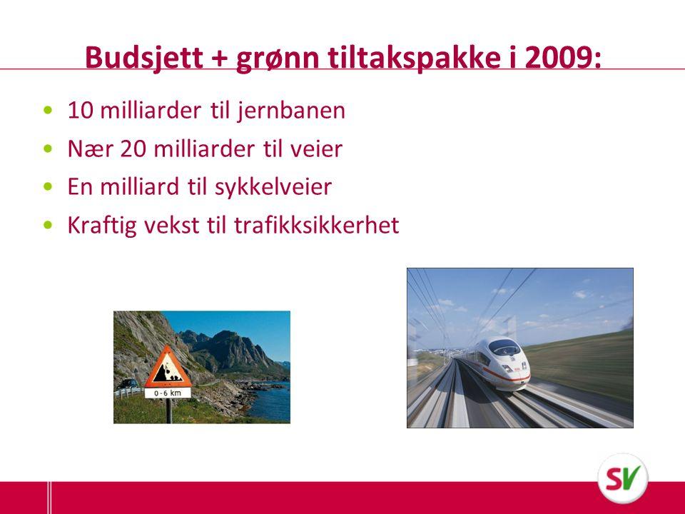 Budsjett + grønn tiltakspakke i 2009: 10 milliarder til jernbanen Nær 20 milliarder til veier En milliard til sykkelveier Kraftig vekst til trafikksikkerhet