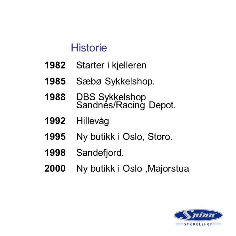Historie 1982 Starter i kjelleren 1985 Sæbø Sykkelshop. 1988 DBS Sykkelshop Sandnes/Racing Depot. 1992 Hillevåg 1995 Ny butikk i Oslo, Storo. 1998 San