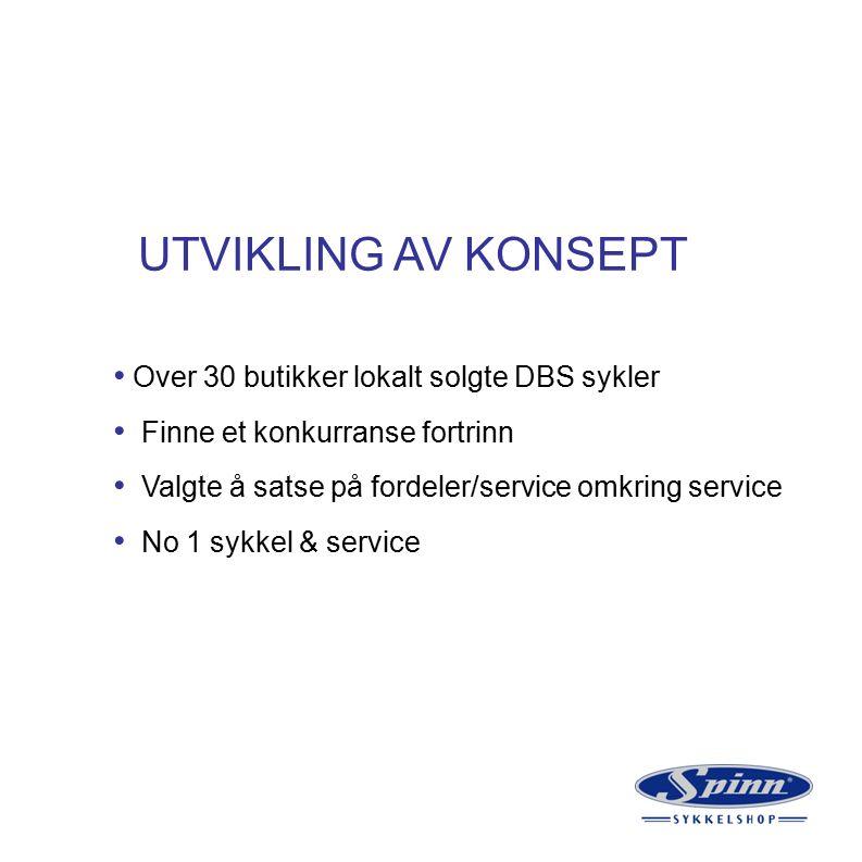 UTVIKLING AV KONSEPT Over 30 butikker lokalt solgte DBS sykler Finne et konkurranse fortrinn Valgte å satse på fordeler/service omkring service No 1 sykkel & service