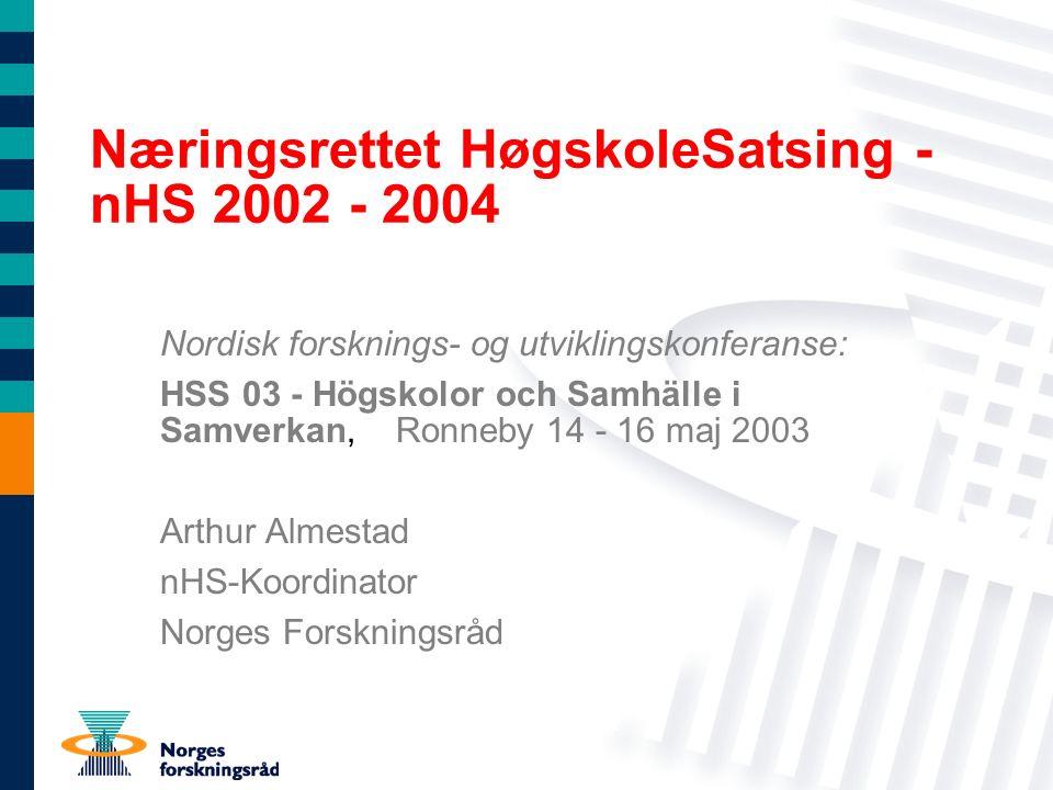 Næringsrettet HøgskoleSatsing - nHS 2002 - 2004 Nordisk forsknings- og utviklingskonferanse: HSS 03 - Högskolor och Samhälle i Samverkan, Ronneby 14 -