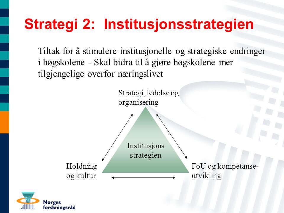 Strategi 2: Institusjonsstrategien Tiltak for å stimulere institusjonelle og strategiske endringer i høgskolene - Skal bidra til å gjøre høgskolene mer tilgjengelige overfor næringslivet Institusjons strategien Strategi, ledelse og organisering Holdning og kultur FoU og kompetanse- utvikling