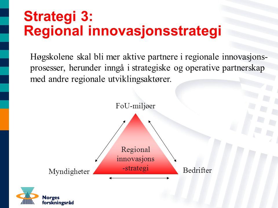 Strategi 3: Regional innovasjonsstrategi Regional innovasjons -strategi Høgskolene skal bli mer aktive partnere i regionale innovasjons- prosesser, herunder inngå i strategiske og operative partnerskap med andre regionale utviklingsaktører.