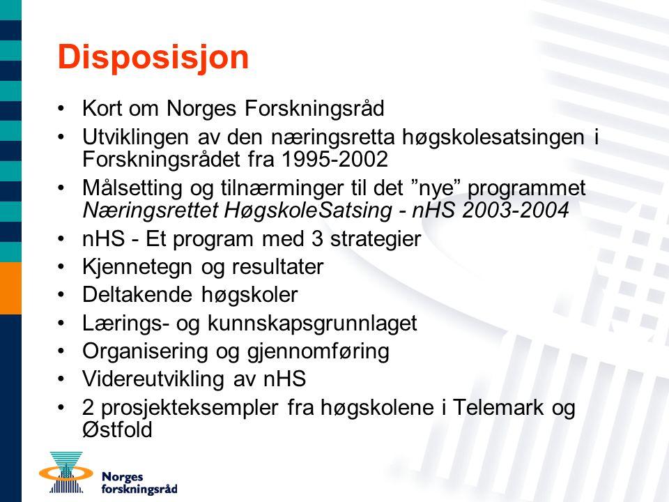 Disposisjon Kort om Norges Forskningsråd Utviklingen av den næringsretta høgskolesatsingen i Forskningsrådet fra 1995-2002 Målsetting og tilnærminger