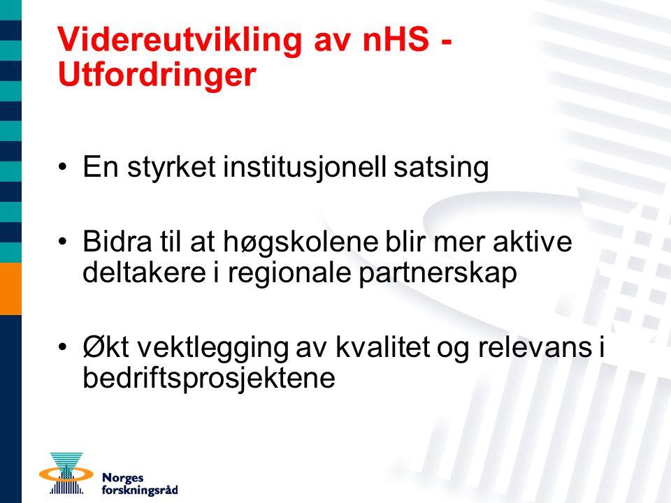 Videreutvikling av nHS - Utfordringer En styrket institusjonell satsing Bidra til at høgskolene blir mer aktive deltakere i regionale partnerskap Økt vektlegging av kvalitet og relevans i bedriftsprosjektene
