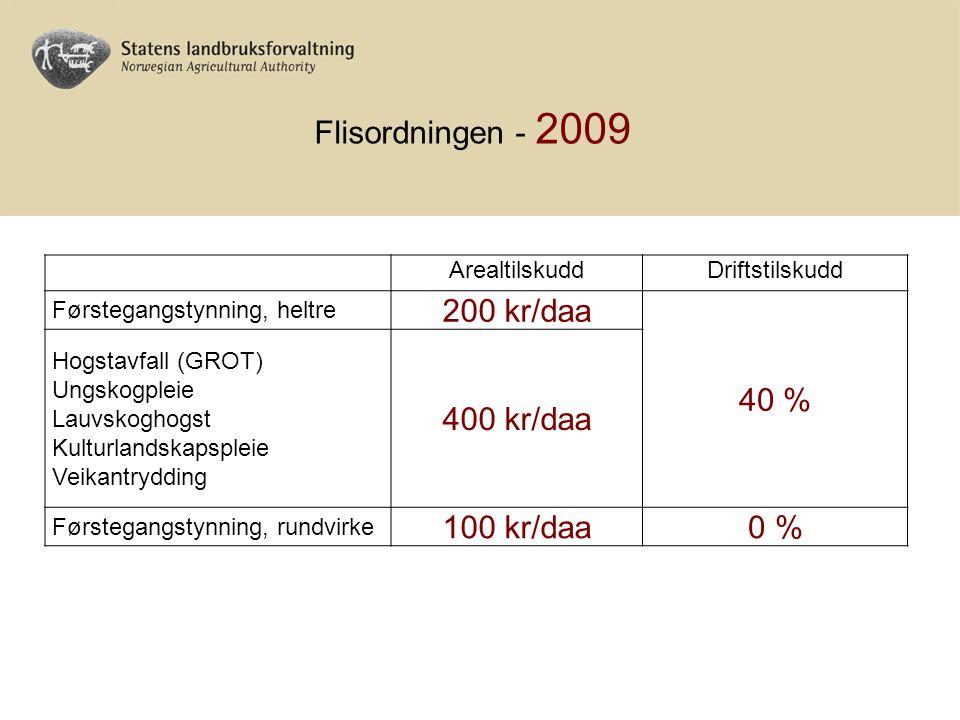 ArealtilskuddDriftstilskudd Førstegangstynning, heltre 200 kr/daa 40 % Hogstavfall (GROT) Ungskogpleie Lauvskoghogst Kulturlandskapspleie Veikantrydding 400 kr/daa Førstegangstynning, rundvirke 100 kr/daa0 % Flisordningen - 2009