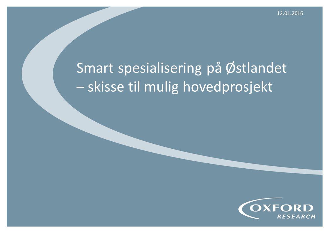 FORMÅL Formålet med forprosjektet er å gi beslutningsgrunnlag for igangsetting av et smart- spesialiseringsprosjekt (hovedprosjekt) i Østlandsregionen _________________________________________________ HOVEDINNHOLD Analyse av næringsmiljøene i regionen som grunnlag for anbefaling om innretningen av et smart spesialiserings-prosjekt Utarbeiding av skisse til hovedprosjekt