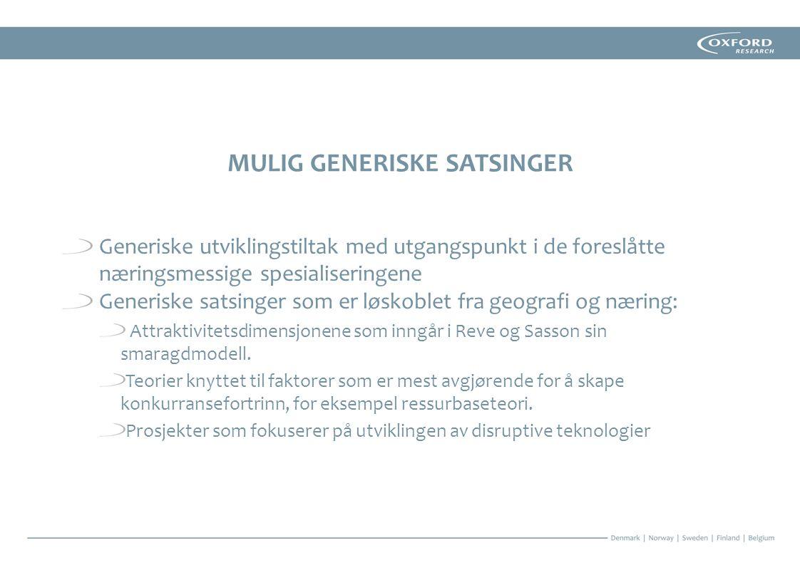 MULIG GENERISKE SATSINGER Generiske utviklingstiltak med utgangspunkt i de foreslåtte næringsmessige spesialiseringene Generiske satsinger som er løskoblet fra geografi og næring: Attraktivitetsdimensjonene som inngår i Reve og Sasson sin smaragdmodell.