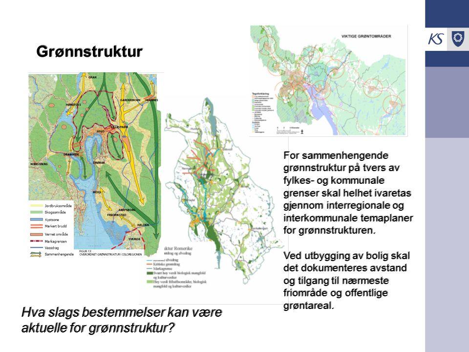 .. Grønnstruktur For sammenhengende grønnstruktur på tvers av fylkes- og kommunale grenser skal helhet ivaretas gjennom interregionale og interkommuna