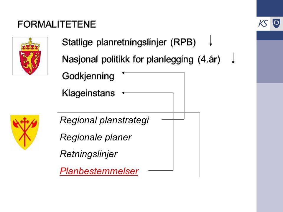 FORMALITETENE Statlige planretningslinjer (RPB) Nasjonal politikk for planlegging (4.år) Godkjenning Klageinstans Statlige planretningslinjer (RPB) Nasjonal politikk for planlegging (4.år) Godkjenning Klageinstans Regional planstrategi Regionale planer Retningslinjer Planbestemmelser Regional planstrategi Regionale planer Retningslinjer Planbestemmelser